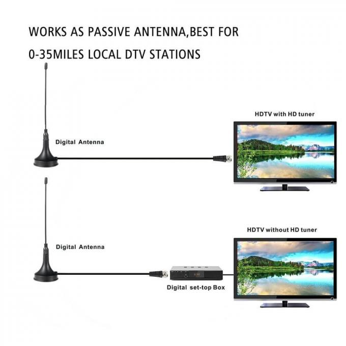 HDTV Digital Television Antennas Signals Generic Magnetic Base Black 120mm Spring