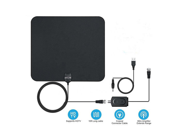 High Power HDTV Amplified Digital TV Antenna HD Thin Film Reversible 5V USB Connector