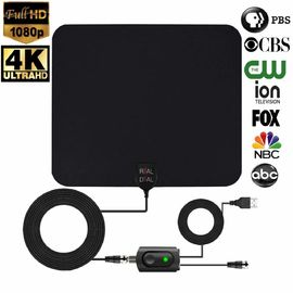 China Ultra Thin HDTV Antenna Indoor Support 1080P/4K TV 50-75 Miles Range with Amplifier factory